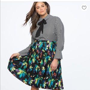Eloquii Printed Shirtdress w/ Pleated Skirt NWT